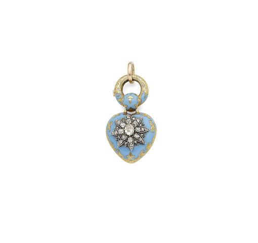 An enamel and diamond locket