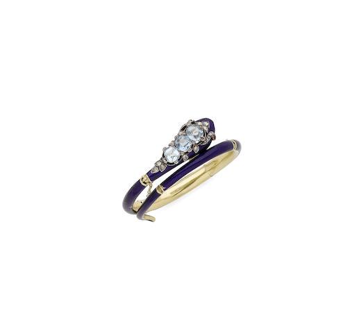 An enamel, aquamarine and diamond snake bangle