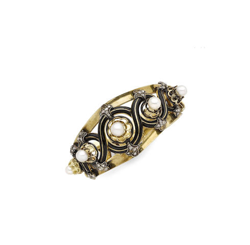 An enamel, pearl and diamond bangle