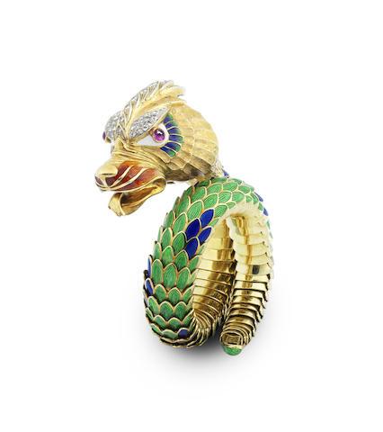 A gem-set and enamel dragon bracelet