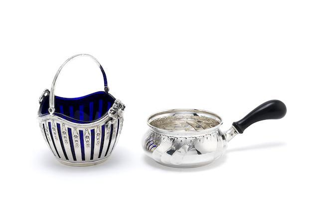 A Danish silver brandy pan