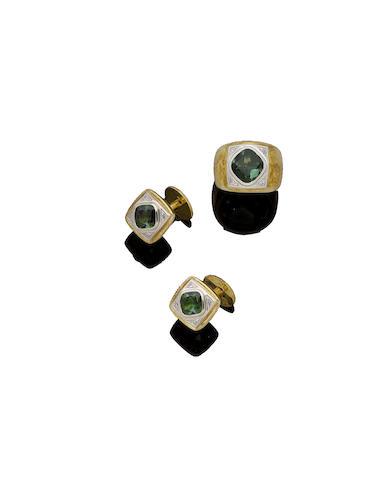 A tourmaline and diamond dress ring and cufflinks