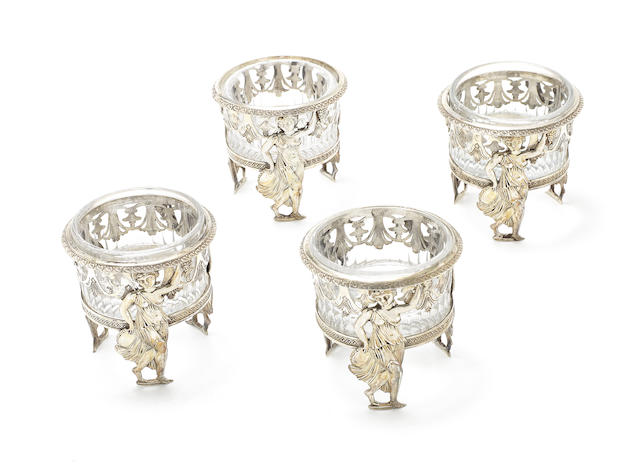 A set of four 19th century French silver open salts