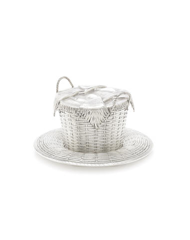 A late 19th century Russian silver trompe l'oeil matched sugar bowl and stand