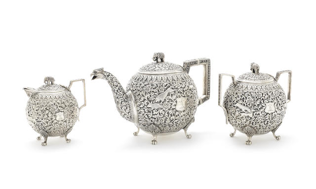 An Indian silver three-piece tea service