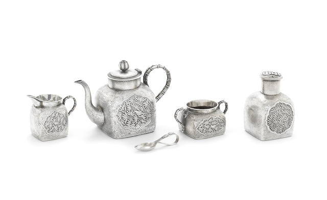 A Chinese Export silver four-piece tea service