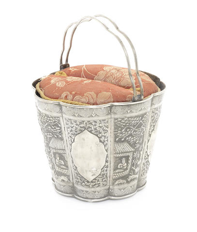 A Chinese metalware twin-handled bucket