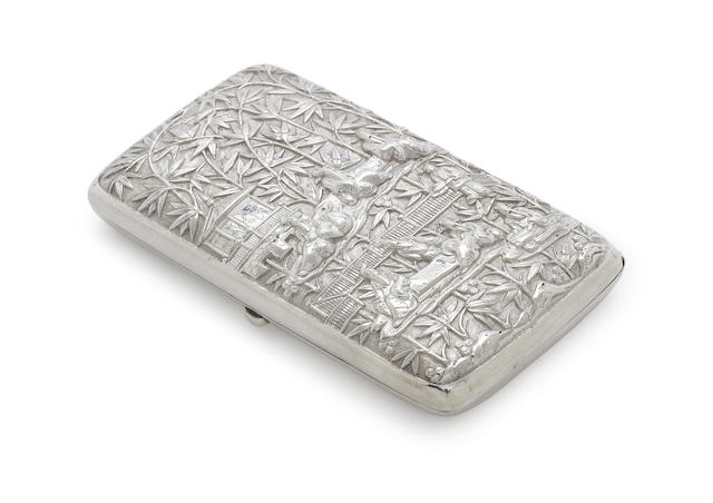 A Chinese Export silver cigarette case