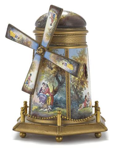 A Continental gilt brass and enamel windmill form music box