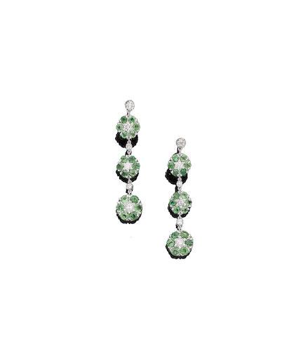 A pair of green garnet and diamond pendant earrings