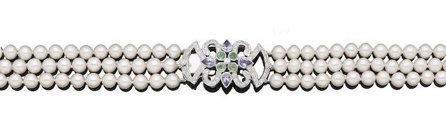 A cultured pearl necklace with a tanzanite, tsavorite garnet and diamond clasp