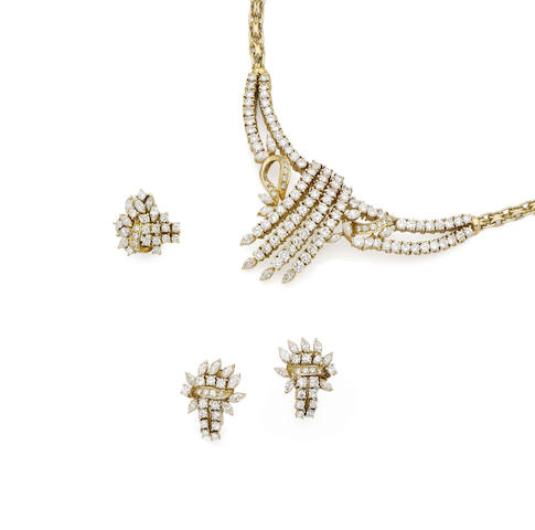 A diamond necklace, bracelet, ring and earclip suite
