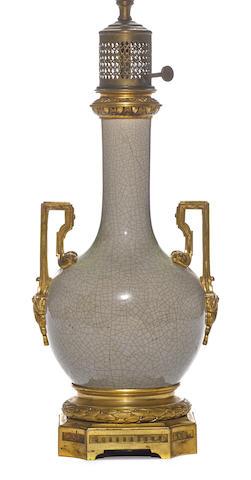 A French gilt bronze mounted Chinese crackle celadon glaze porcelain vase
