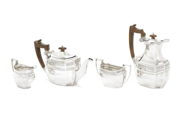 A silver four-piece tea service