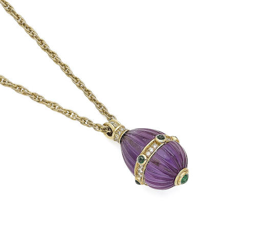 An amethyst, emerald and diamond pendant necklace
