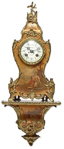 A Continental Rococo style gilt bronze mounted Vernis Martin lacquer miniature bracket clock