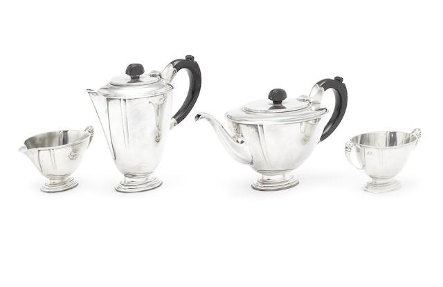 An Art Deco silver four-piece tea service