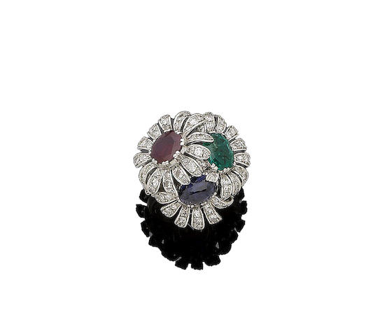 An emerald, ruby, sapphire and diamond ring