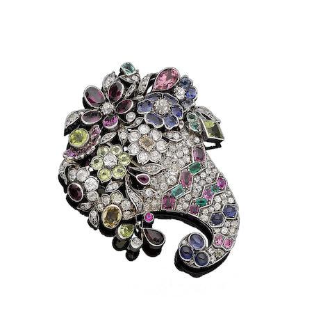 A gem-set and diamond brooch