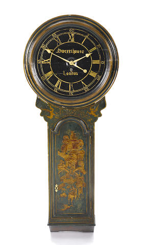 A George III green japanned tavern clock