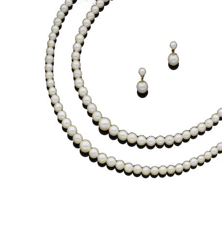 A double-strand cultured pearl necklace and earrings