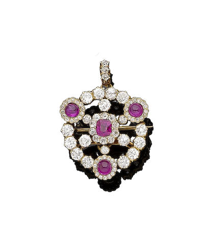 A ruby and diamond brooch/pendant