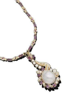 A cultured pearl, ruby and diamond pendant necklace