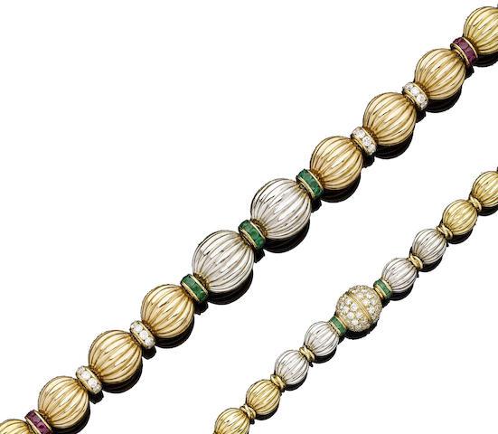 A gem-set necklace