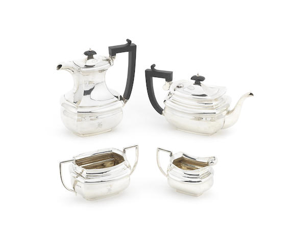 A four-piece silver tea and coffee service