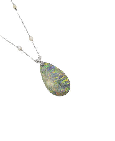 An opal, pearl and diamond pendant necklace