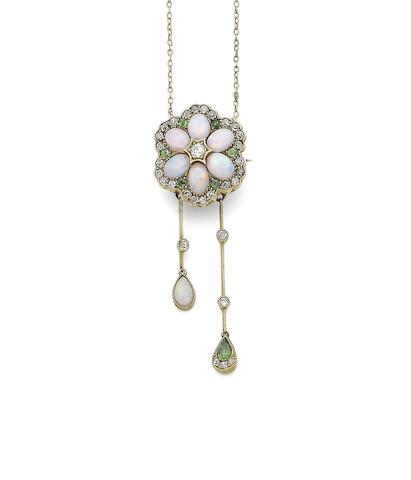 An opal, green garnet and diamond brooch/pendant necklace