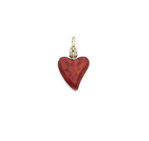 An enamel heart-shaped locket pendant