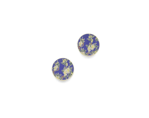 A pair of enamel bachelor buttons