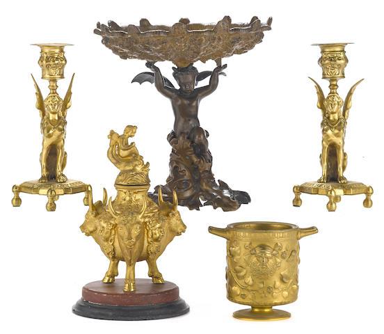Five bronze table accessories