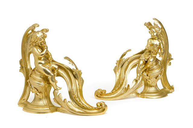 A pair of Louis XV style gilt bronze figural chenets
