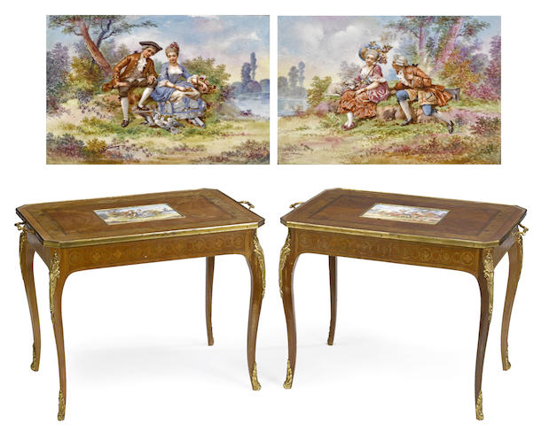 A pair of French gilt bronze and porcelain mounted marquetry inlaid walnut low occasional tables