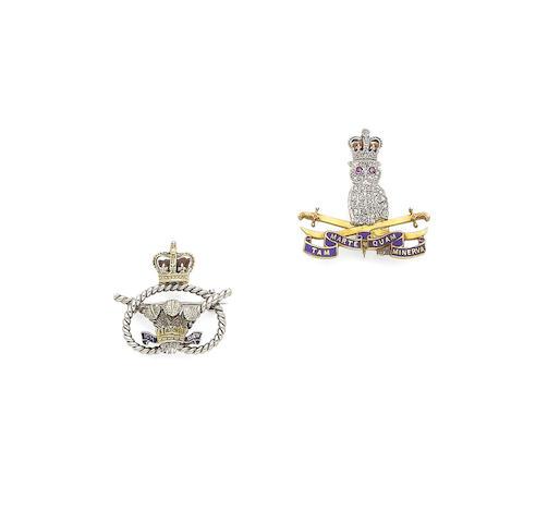 A gem-set and diamond regimental brooch