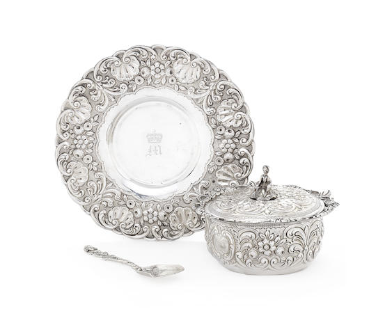 A George III silver covered bowl and saucer with spoon