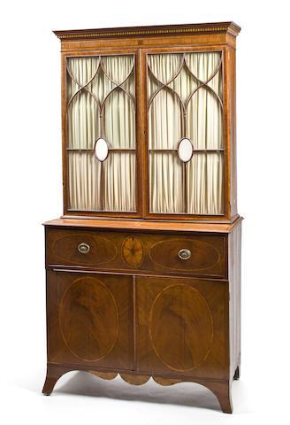 A George III satinwood inlaid mahogany secretary bookcase