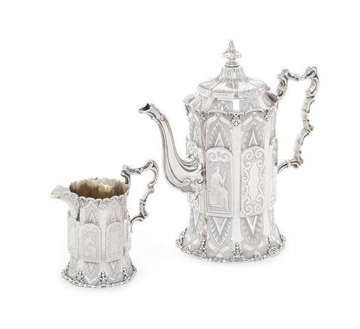 A Victorian silver coffee pot and cream jug