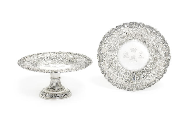 A pair of Victorian silver tazze
