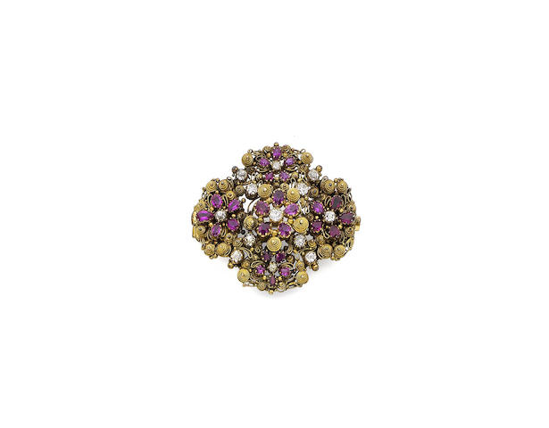 A 19th century ruby and diamond brooch