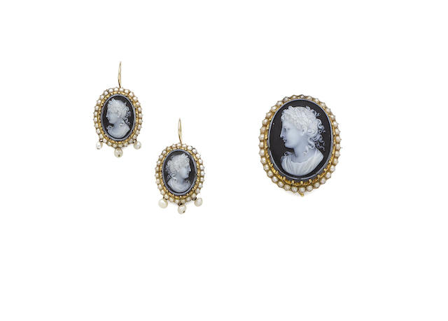 A pearl and hard-stone cameo brooch and earrings