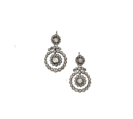 A pair of 19th century diamond earrings