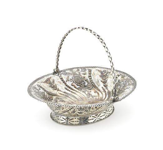 A George III silver swing-handle basket
