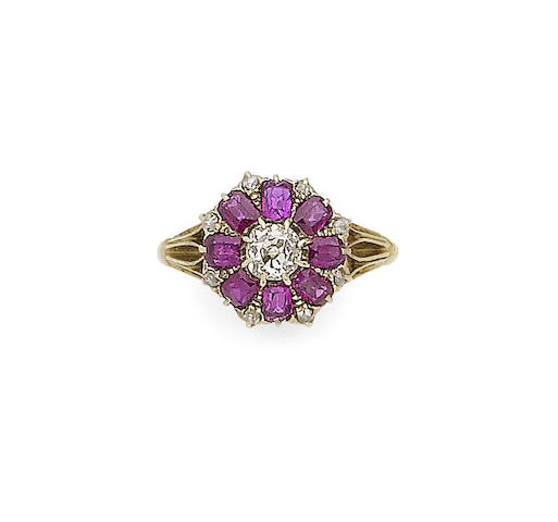 A late 19th century ruby and diamond cluster ring
