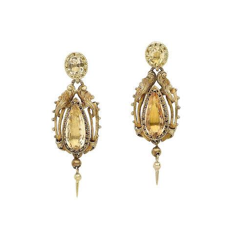 A pair of topaz earrings
