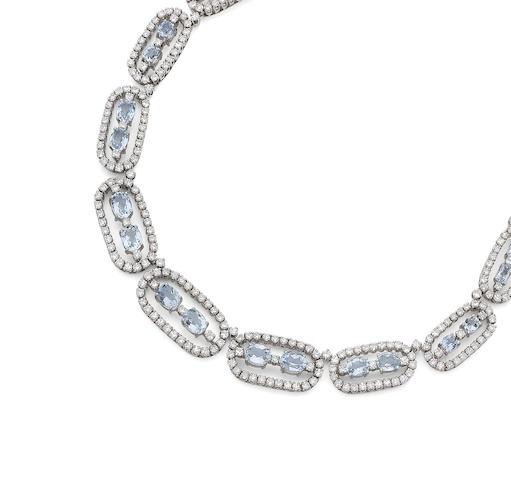 An aquamarine and diamond necklace