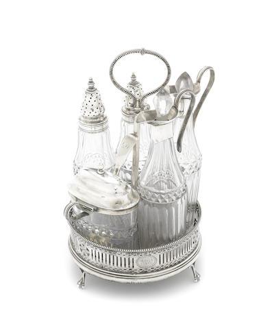 A George III silver cruet set