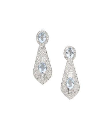 A pair of aquamarine and diamond pendant earclips